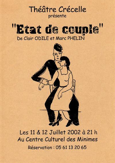 Affiche Etat de couple de Odile Clair et Marc Phelin - Compagnie Théâtre Crécelle